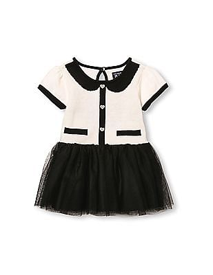 The Children's Place Baby Girls Black Short Sleeve Intarsia Knit Detail Sweater Dress