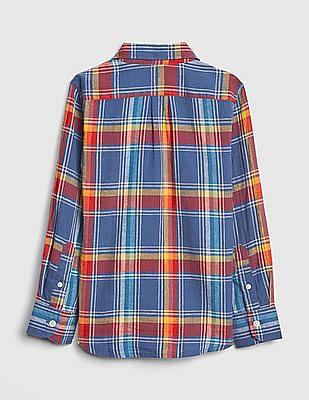 GAP Boys Plaid Linen-Cotton Long Sleeve Shirt