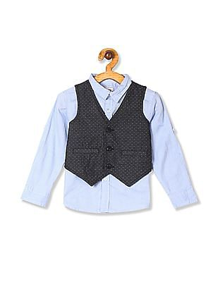 Donuts Blue Boys Solid Shirt With Patterned Waistcoat