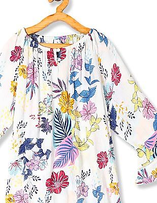 U.S. Polo Assn. Kids White Girls Floral Print Crinkled Top