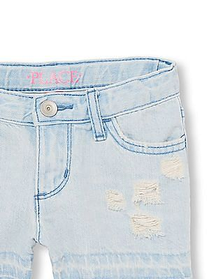 The Children's Place Girls Let Down Hem Destructed Denim Shorts - Dreamer Wash