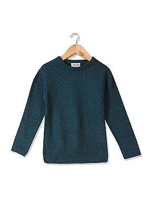 Cherokee Girls Round Neck Metallic Knit Sweater