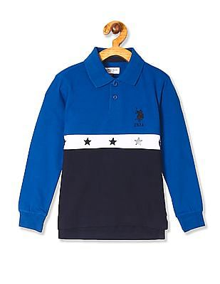 U.S. Polo Assn. Kids Blue Boys Embroidered Accent Panelled Polo Shirt