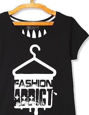 Flying Machine Women Black Cutout Back Printed T-Shirt