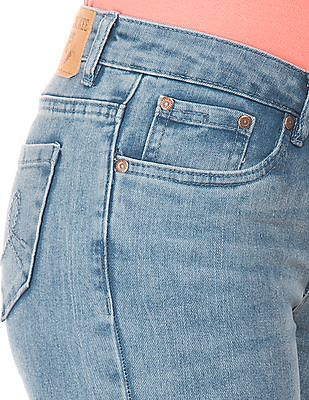 Cherokee Stone Wash Patched Jeans