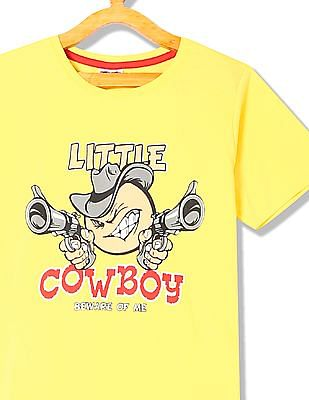 Day 2 Day Boys Crew Neck Little Cowboy Graphic T-Shirt