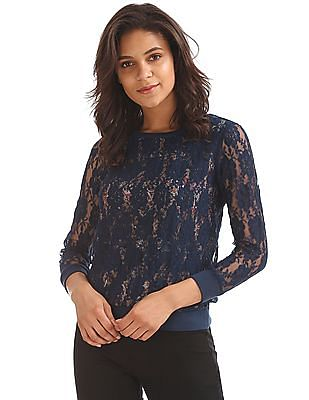 Elle Banded Trim Lace Top