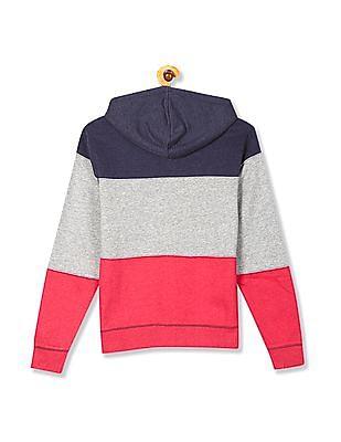 Flying Machine Hooded Colour Block Sweatshirt