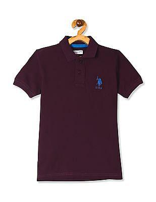 U.S. Polo Assn. Kids Purple Boys Chest Logo Pique Polo Shirt