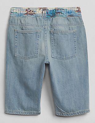 GAP Toddler Boy Blue Pull-On Beach Graphic Denim Shorts