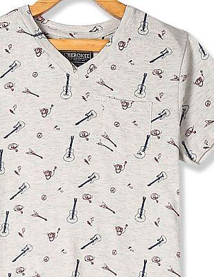 Cherokee Grey Boys Patch Pocket Printed T-Shirt