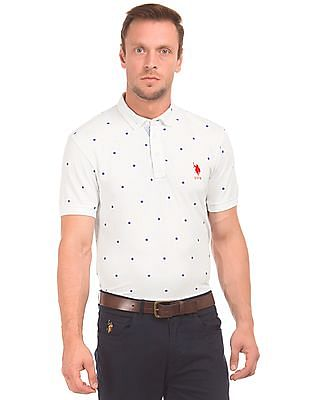 af92118c U.S. Polo Assn. Floral Embroidered Slim Fit Polo Shirt
