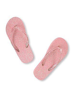 The Children's Place Girls Pink Glitter Flip-Flops