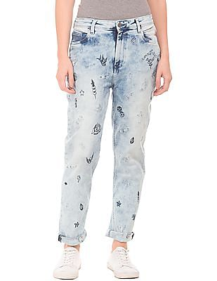 EdHardy Women Embroidered High Rise Mom Jeans