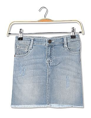 Cherokee Girls Raw Hem Denim Skirt