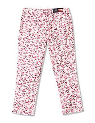 U.S. Polo Assn. Kids Girls Floral Print Cropped Trousers