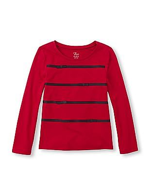 The Children's Place Girls Long Sleeve Ribbon Appliqued Top