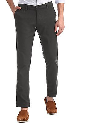Ruggers Grey Tapered Fit Flat Front Trousers