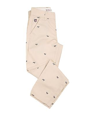 U.S. Polo Assn. Kids Boys Printed Cotton Trousers