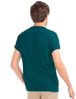 GAP Men Green Essential Short Sleeve V-Neck T-Shirt