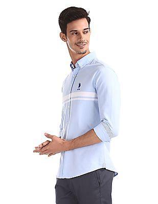 U.S. Polo Assn. Blue Button Down Collar Tailored Regular Fit Shirt
