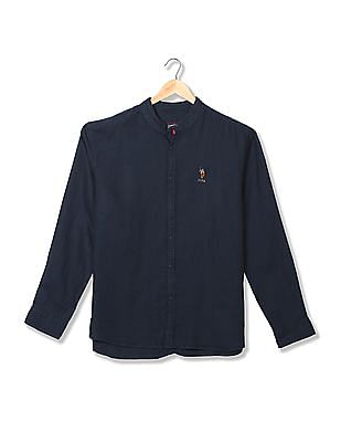 U.S. Polo Assn. Denim Co. Mandarin Collar Linen Shirt