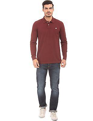 Aeropostale Long Sleeve Pique Polo Shirt