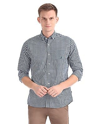 Nautica Long Sleeve Yarn Dyed Gingham Plaid Shirt
