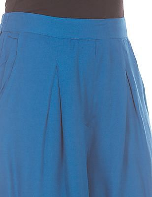 Bronz Solid Pleated Front Palazzos