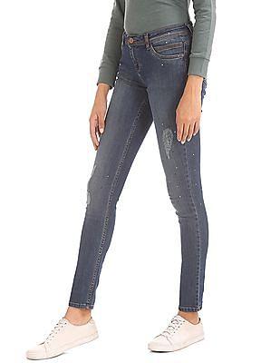 Elle Skinny Fit Distressed Jeans
