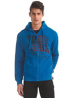 U.S. Polo Assn. Blue Brand Print Hooded Sweatshirt