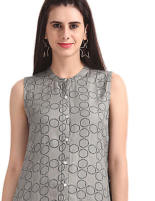 Bronz Grey Allover Print Sleeveless Tunic