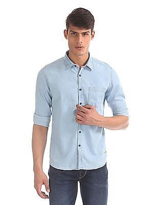 Flying Machine Blue Washed Denim Shirt
