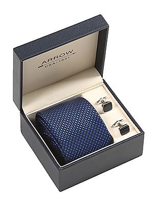 Arrow Blue Patterned Tie And Square Cufflinks Set