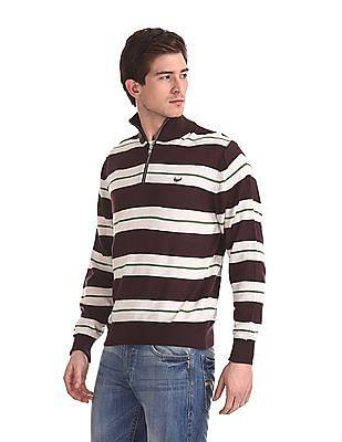 Flying Machine Striped Half Zip Sweater