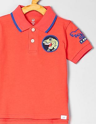 GAP Toddler Boy Embroidered Patch Polo T-Shirt