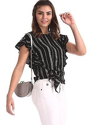 Flying Machine Women Black Ruffled Striped Top