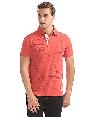 Nautica Short Sleeve Printed Polo