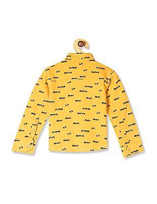 Donuts Yellow Boys Animal Print Knit Shirt