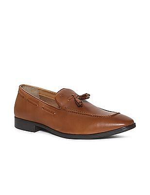 Arrow Brown Tasselled Leather Slip On Shoes