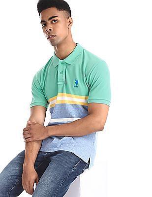 U.S. Polo Assn. Green Striped Pique Polo Shirt