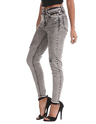 EdHardy Women Super Skinny Distressed Jeans
