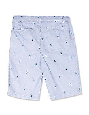 The Children's Place Blue Boys Striped Palm Print Woven Chino Shorts
