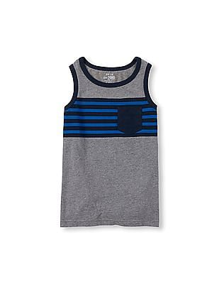The Children's Place Boys Sleeveless Striped Chest Pocket Active Tank Top