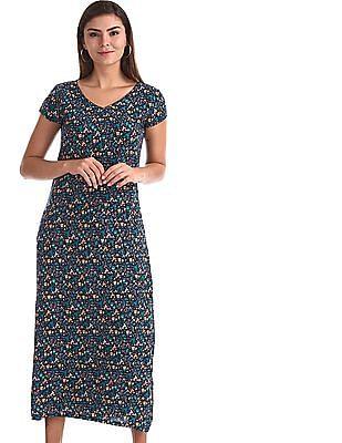 SUGR Blue Floral Print Maxi Dress