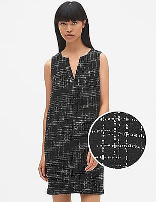 GAP Tweed Sleeveless Split-Neck Shift Dress