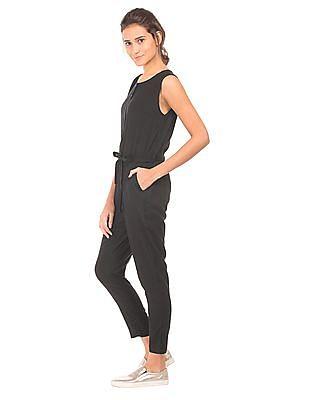 U.S. Polo Assn. Women Solid Elasticized Waist Jumpsuit