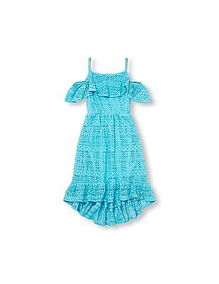 The Children's Place Girls Short Sleeve Ruffle Lace Cold Shoulder Dress