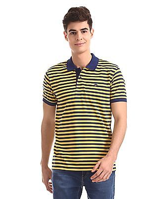 Ruggers Yellow And Navy Horizontal Stripe Polo Shirt