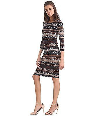 U.S. Polo Assn. Women Contrast Print Knit Bodycon Dress